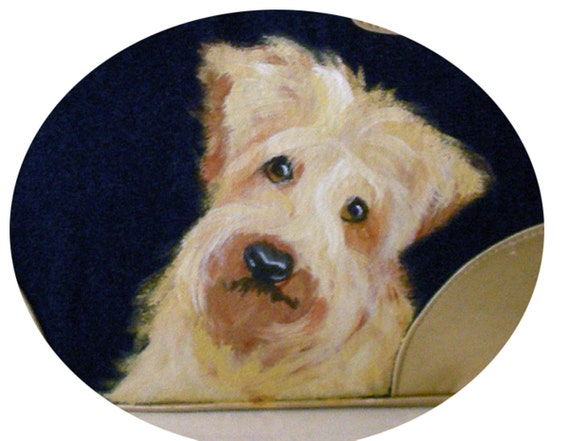 Wheaten Terrier Denim Tote Hand Painted