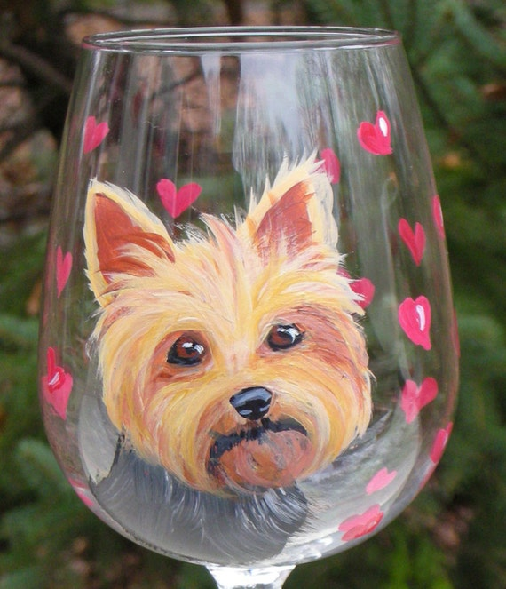 Yorkshire Terrier Hand Painted Wine Glass