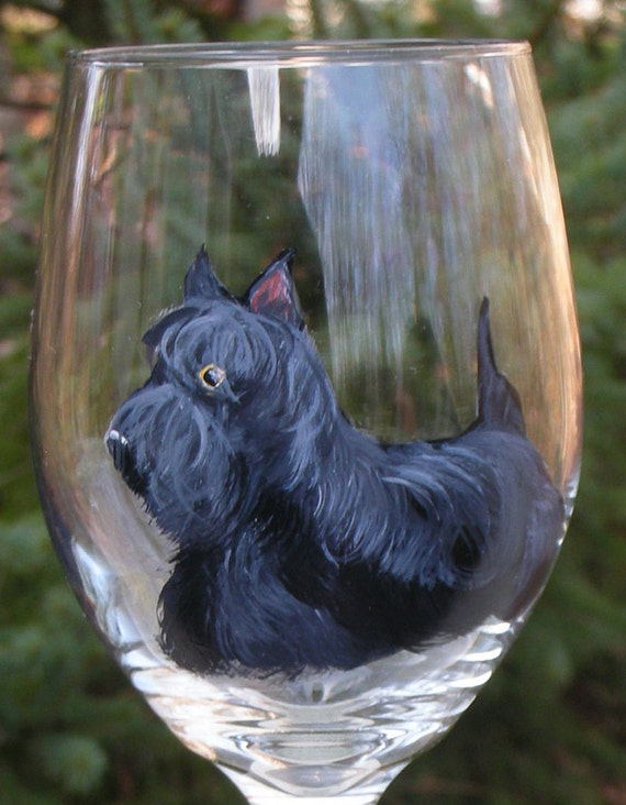 Scottish Terrier Wine Glass Hand Painted