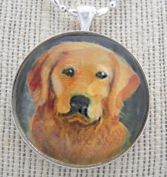 Golden Retriever Keychain / Pendant Original Art Mini Painting