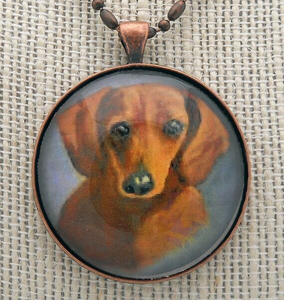 Dachshund Pendant Necklace Original Art Mini Painting