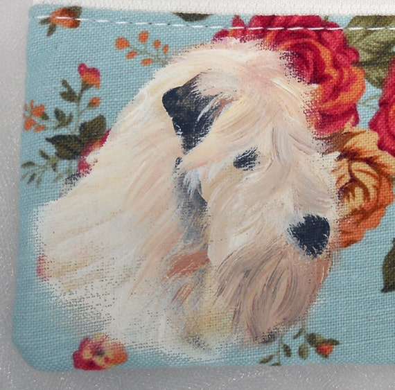 Wheaten Terrier Coin Purse Cell Phone Case Hand-Painted Wristlet
