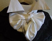 Pure White Dupioni Silk Six inch width REGENCY Brummel Victorian Ascot Tie Cravat -