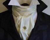 REGENCY Brummel Victorian Ascot Tie Cravat - IVORY White Dupioni Silk