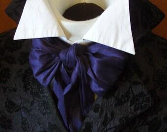 REGENCY Tie Ascot Cravat Navy Blue Dupioni SILK