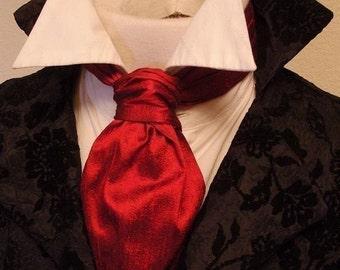 Deep Red Dupioni SILK - FORMAL Victorian Ascot Tie Cravat