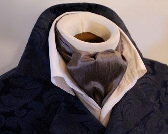 DAY Cravat Victorian Ascot Tie Cravat - Charcoal Grey Dupioni SILK