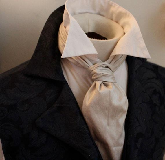 ANDREA - FORMAL Victorian Ascot Tie Cravat - Smokey Pearl Grey Dupioni SILK (4pk)