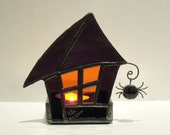 Halloween Stained Glass Candle Holder Decoration Votive Purple Orange Haunted House Handmade OOAK