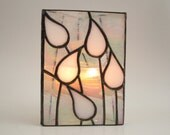 Candle Holder Stained Glass White Wedding Gift Handmade OOAK