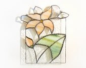Suncatcher Stained Glass Panel Flower Peach Stained Glass Window Panel  Handmade