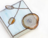 Jewelry Box with Agate Geodes White Stained Glass Bridal Handmade OOAK