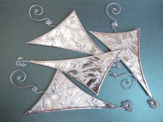 Icicle christmas tree ornament stained glass suncatcher