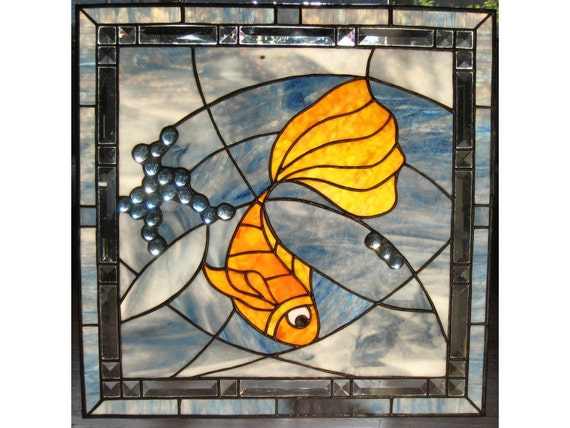 Blue Wave Handmade Stained Glass Window Panel Ocean Wave Lucky Gold Fish OOAK