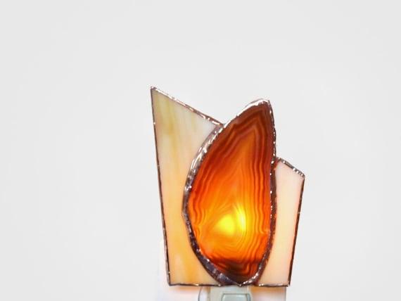 Agate Stained Glass Night Light Amber Geode Slice Nightlight Handmade OOAK