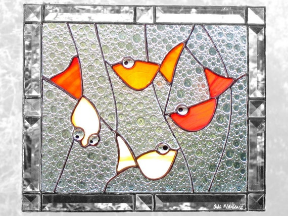 Goldfish Stained Glass Window Panel Red Orange Bevels Lucky Carp Handmade