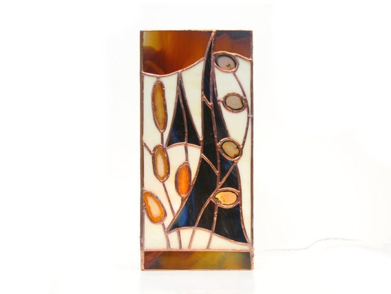 Accent Lamp Stained Glass Brown with Agate Geodes  Desk Accessories