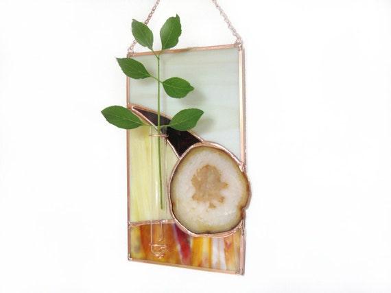 Wall Vase Agate Geode Stained Glass Panel Suncatcher Bud Vase Brown Beige Handmade OOAK