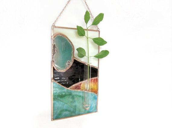 Teal Agate Geode Stained Glass Panel Wall Bud Vase Mint Beige Handmade OOAK