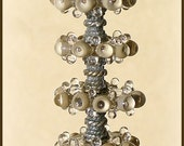 Beige Lampwork Glass Beads, FREE SHIPPING, Handmade Glass Bubble Disc Beads - Rachelcartglass