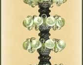 Greenish -Yellow Lampwork Glass Beads, FREE SHIPPING,  Handmade Lampwork Bubble Glass - Rachelcartglass