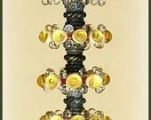 Light Amber Lampwork Glass Disc Beads, FREE SHIPPING, Handmade Bubble Spacers Glass Beads, Earrings Set - Rachelcartglass