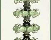 Transprent Pale Green Lampwok Glass Beads, FREE SHIPPING, Hadmade Disc Glass Bubble Beads - Rachelartglass
