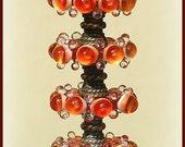 Red Orange Lampwork Glass Disc Beads, FREE SHIPPING, Handmade Lampwork Bubble Beads, Earrings Set
