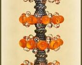 Orange Lampwork Glass Disc Beads, FREE SHIPPING, Handmade Lampwork Bubble Beads, Earrings Set - Rachelcartglass