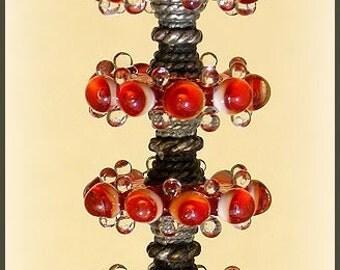 Strike Red Lampwork Glass Disc Beads, FREE SHIPPING,  Handmade Lampwork Glass Bubble Spacers Beads, Earrings Set - Rachelcartglass