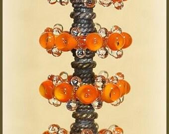 Orange Lampwork Glass Disc Beads, FREE SHIPPING, Handmade Bubble Spacers Beads, Earrings Set - Rachelcartglass