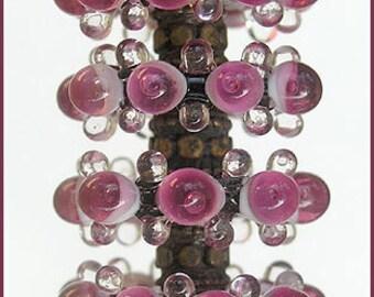 Magenta Lampwork Glass Beads, FREE SHIPPING, Handmade Supplies Lampwork Glass Beads Bubble Disc Set (6)