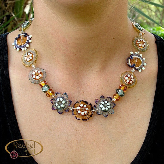 Handmade Lampwork Necklace  Amber, Green Gray - Glass Flowers Beads Necklace OOAK