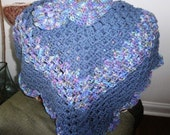 Child's Coming Home Poncho with Matching Cloche in Cadet Blue and Monet