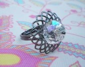 Reserved for Bin Ru - ornante ring with iridescent pink crystal