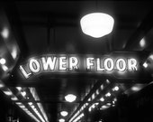 Neon sign Photograph seattle pikes place this way perspective washington black and white bulbs lights - Lower floor - fine art photograph