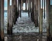 Seaside pier Photograph nc outer banks movement ocean water fishing pier blue waves perspective wood pylons - Envelope me - fine art photo