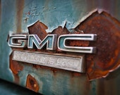 Rustic teal Photography GMC rust truck pickup aged worn USA travel rusty letters industrial - I've been everywhere, man. - fine art photo