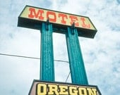 Neon sign Photography motel oregon travel road trip teal yellow orange vintage eastern oregon trail for him - Vacancy - fine art