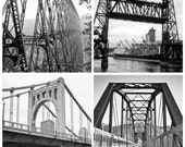 SALE Set of 4 Bridge Urban images 5x5 fine art photos black and white kinzua pa steel portland guffy bridge idaho sixth st pittsburgh - brandMOJOimages