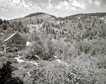 Mountain landscape Photography town hillside art dustbowl dorothea lange small town sepia - What they lived, we dream - fine art photograph