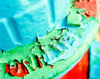 Boys room Photography red blue green paint fire hydrant summer letters texture 50s bright - Peeling away the layers - fine art photograph