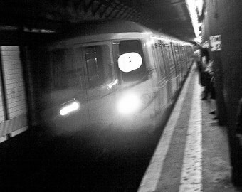 New York City Photography urban time lapse perspective motion subway tunnel transit nyc lights linear - Deep in the bowels - fine art photo