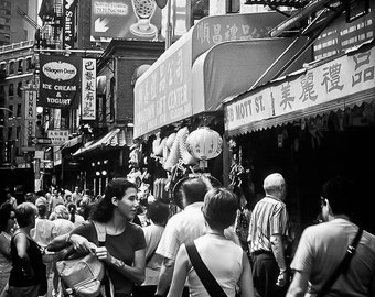 Street life NYC Photography Chinatown New York 2001 chinese haagen dazs signs nyc -The tourism board - fine art photo black and white