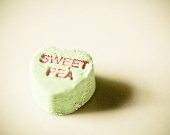 Candy Photography valentines day conversation hearts lime green red letters confection cottage shabby chic - Sweet pea - fine art photo