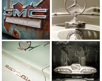 SALE Set of 4 Vintage Vehicle Emblems Images 4x4 fine art photos color for him dad buick 50s gmc teal rust mercedes emblem bel-air cars