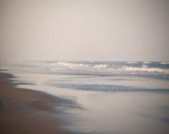 Ocean waves Photograph beach ethereal seaside dreamy white sand blue NC coast vacation outer banks holga - Just disappear - fine art photo