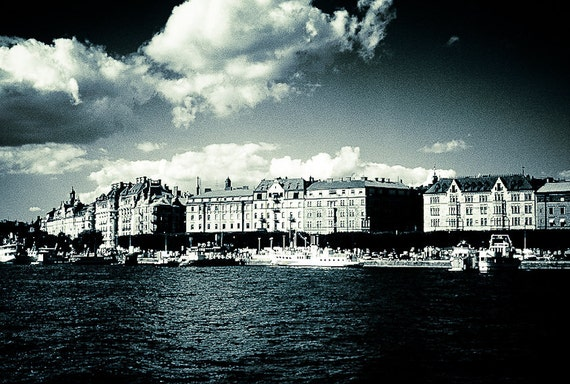 Stockholm port Photography Landscape bedroom travel sweden water blue abroad water clouds gift - Light in your eyes - fine art photograph