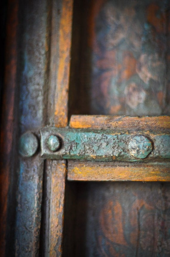 Teal decor Photography primitive antique yellow wood cabinet wooden aged worn rustic shabby chic - The crux - fine art photograph