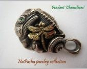 18k gold and silver CHAMELEONS pendant